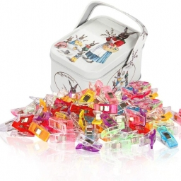 Multipurpose Sewing Clips, Quilting Clips, Craft clips Multicolored Little Clips With Tin Box