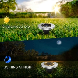Solar In Ground Lights 8 LED Disk Lights Upgraded Outdoor Garden Lights Landscape Lights for Lawn Pathway Yard Deck Patio Walkwa